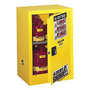 Justrite Flammable Liquid Cabinet, 15 Gallon, Manual Single Door Vertical Storage