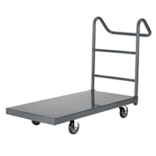 "Steel Deck Platform Truck 72 x 36 1000 Lb. Capacity 5"" Polyurethane Casters with Ergo Handle"