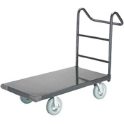 "Steel Deck Platform Truck 48 x 30 1400 Lb. Capacity 5"" Rubber Casters with Ergo Handle"