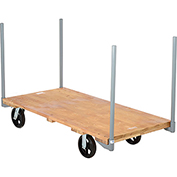 "Stake Handle Hardwood Deck Platform Truck 60 x 30 2400 Lb. Capacity 8"" Rubber Casters"