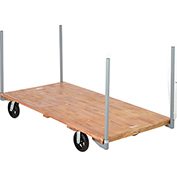 "Stake Handle Hardwood Deck Platform Truck 72 x 36 2400 Lb. Capacity 8"" Rubber Casters"