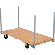 "Stake Handle Hardwood Deck Platform Truck 60 x 30 1400 Lb. Capacity 5"" Rubber Casters"