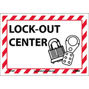 Sign Lock Out Center 7x10 Pressure Sensitive