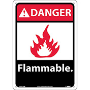 """Graphic Signs - Danger Flammable - Plastic 10""""W X 14""""H"""