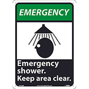"""Graphic Signs - Emergency Shower - Plastic 10""""W X 14""""H"""