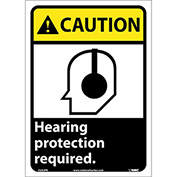 "Graphic Signs - Caution Hearing Protection - Vinyl 10""W X 14""H"