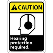 "Graphic Signs - Caution Hearing Protection - Plastic 10""W X 14""H"