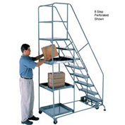 10 Step Steel Stock Picking Ladder - Perforated Tread