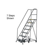 15 Step Steel Easy Turn Rolling Ladder - Standard Angle