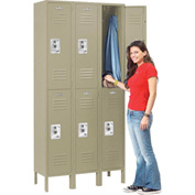 Infinity™ Locker Double Tier 12x12x36 6 Door Assembled Tan