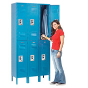 Infinity™ Locker Double Tier 12x15x36 6 Door Assembled Blue