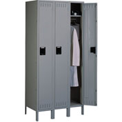 Tennsco Steel Locker STK-121572-3 02 - Single Tier w/Legs 3 Wide12x15x72 Unassembled, Medium Grey