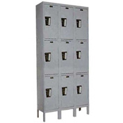 Hallowell UY3228-3A-HG Locker Triple Tier 12x12x24 9 Doors Assembled Gray