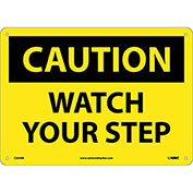 "Safety Signs - Caution Watch Your Step - Rigid Plastic 10""H X 14""W"