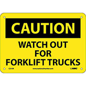 "Safety Signs - Caution Watch Out Forklift Trucks - Rigid Plastic 7""H X 10""W"