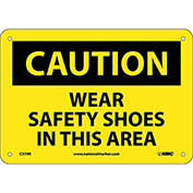 "Safety Signs - Caution Wear Safety Shoes - Rigid Plastic 7""H X 10""W"