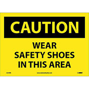 "Safety Signs - Caution Wear Safety Shoes - Vinyl 10""H X 14""W"