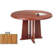 48 Inch Round Table Oak Finish