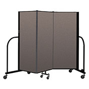 "Screenflex Portable Room Divider 3 Panel, 5'H x 5'9""L, Fabric Color: Oatmeal"