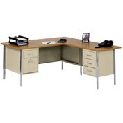 "MBI - L-Desk With Right Return - 72"" x 66"" - Putty/Oak Top"