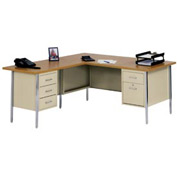 "MBI - L-Desk With Left Return - 72"" x 66"" - Putty/Oak Top"