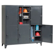 Strong Hold® Personnel Locker 66242TPL6DOOR - Double Tier 74x24x78 6 Doors Assembled Gray