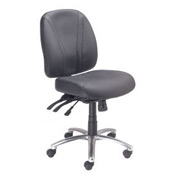 Multifunctional Office Chair - Leather - Mid Back - Black