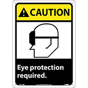 "Graphic Signs - Caution Eye Protection Required - Plastic 10""W X 14""H"