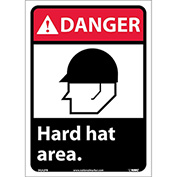 "Graphic Signs - Danger Hard Hat Area - Vinyl 10""W X 14""H"