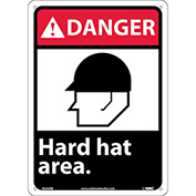 "Graphic Signs - Danger Hard Hat Area - Plastic 10""W X 14""H"