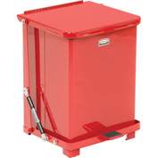 Rubbermaid® QST7ERB Defenders® Fire Safe Silent Step On Metal Trash Can, 7 Gallon, Red