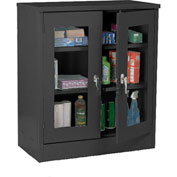 Sandusky Clear View Counter Height Storage Cabinet EA2V461842 - 46x18x42, Black