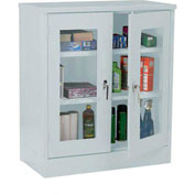 Sandusky Clear View Counter Height Storage Cabinet EA2V461842 - 46x18x42, Light Gray