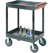 "Luxor® TC11FR8-B Tray Top Shelf 2 Shelf Plastic Cart 8"" Semi-Pneu Casters"