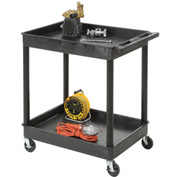 "Luxor® TC11 Tray Top Shelf 2 Shelf Plastic Utility Cart 32x24 4"" Casters"