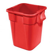 28 Gallon Square Rubbermaid Brute Waste Receptacles - Red 3526