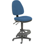 Operator Stool - Fabric - 180° Footrest - Blue