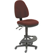Work Stool - Fabric - 180° Footrest - Burgundy