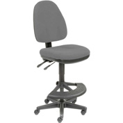 Operator Stool - Fabric - 180° Footrest - Gray