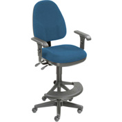 Work Stool With Arms - Fabric - 180° Footrest - Blue