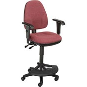 Operator Stool With Arms - Fabric - 180° Footrest - Burgundy