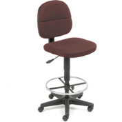 Drafting Stool - Fabric - 360° Footrest - Burgundy