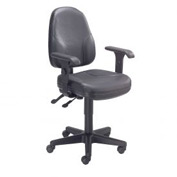 Multifunction Office Chair with Arms - Leather - Black