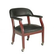 Boss Conference Chair with Arms and Casters - Vinyl - Black