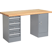 "60"" W x 30"" D Pedestal Workbench W /4 Drawers & Cabinet, Maple Butcher Block Safety Edge - Gray"