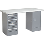 "60"" W x 30"" D Pedestal Workbench W/4 Drawers & 1 Cabinet, Plastic Laminate Safety Edge - Gray"