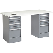 "72"" W x 30"" D Pedestal Workbench W/ 6 Drawers, ESD Square Edge - Gray"