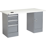 "60"" W x 30"" D Pedestal Workbench W/ 3 Drawers & Cabinet, ESD Square Edge - Gray"