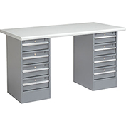 "60"" W x 30"" D Pedestal Workbench W/ 8 Drawers, Plastic Laminate Safety Edge - Gray"