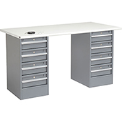 "72"" W x 30"" D Pedestal Workbench W/ 8 Drawers, ESD Safety Edge - Gray"